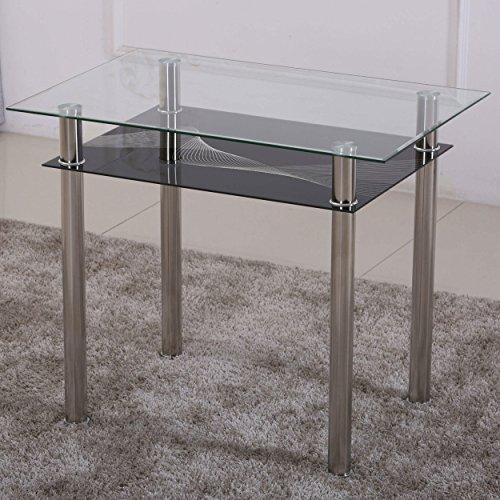 Esstisch 90x60 Küchentisch Esszimmer Tisch Chrom Speisetisch Klar-Glas mit Ablage - Schwarz