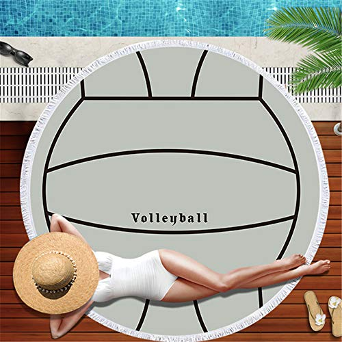 LYJZH Rundes Strandtuch- Fußball Basketball Ball Strand Kissen mikrofaser gürtel gesäumt Strandtuch Druck kreative schal Yoga Matte - 01 150 * 150 cm