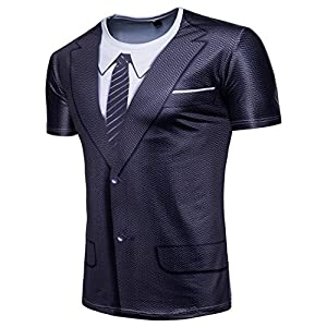 Manadlian Herren T-Shirts Schwarz Sommer Junge Tops Mode Männer Schlank Passen 3D Passen Kurzarm Muskel-Tee T-Shirt Lässige Tops Bluse