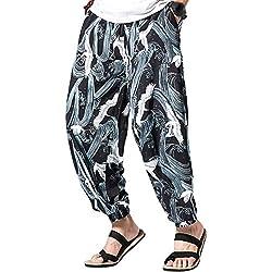 besbomig Pantalones Bombachos para Hombres Pantalón Harén Aladdin Hippie Boho Yoga Wideleg Pantalones para Hombres