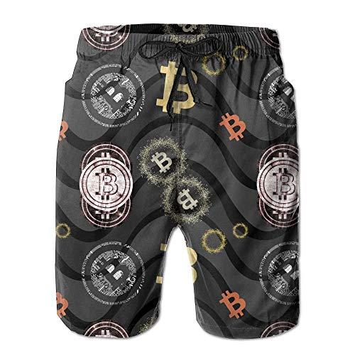 Bensontop Bitcoin Herren Boardshorts Boardshorts Quick Dry Athletic Shorts Badehose L