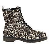 Geschnürte Damen Schuhe Worker Boots Profil Sohle Stiefel Stiefeletten 157012 Leopard Prints 36 Flandell