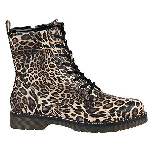 Geschnürte Damen Schuhe Worker Boots Profil Sohle Stiefel Stiefeletten 157012 Leopard Prints 40 Flandell (Leopard Bootie)