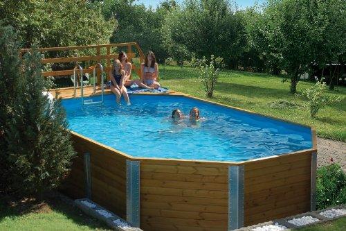 Massivholz-Swimmingpools Korfu - AKTION: inkl, Einhängeleiter gratis - Außenmaß: 376 x 714 cm, Wasserkapazität: 20,4 m³, Sandfilteranlage MAXI: nicht vorhanden