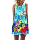 binglinshang New Summer Cactus Stampato 3D Vintage Beach Dress 2019 Senza Maniche O Neck Chiffon Dress Dress Women Abiti Larghi Sexy Mini Dress, M