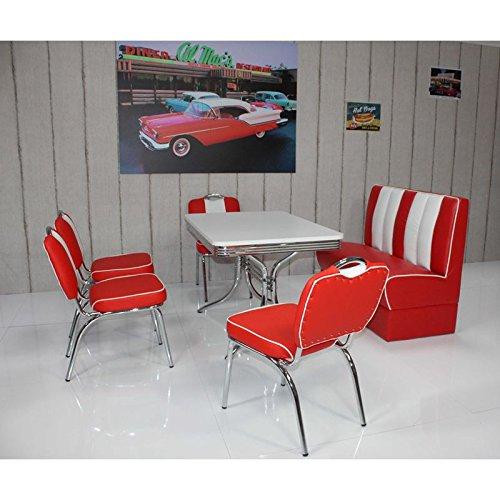 American Diner Bistrogruppe, 4 Bistrostühle und Polster-Sitzbank in Kunstleder rot/weiß, rechteckigen Tisch 120x80cm in weiß mit Chromrahmen
