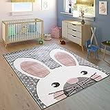 Paco Home Tappeto per Bambini Stanza dei Bambini Taglio Sagomato Grazioso Coniglio Grigio Crema Rosa, Dimensione:80x150 cm