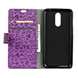 Alcatel A7 Brieftasche Hülle PU+TPU Kunstleder Handyfall für Alcatel A7 mit Stand Funktion Ein Stent-Funktion (Lila)