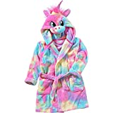 Animal Crazy Girls Rainbow Unicorn Bath Robe Dressing Gown Supersoft Fleece