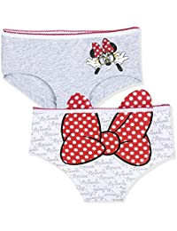 60a1cece0c Disney Minnie Mouse Official Girls Underwear Shorts Knickers 2-Pack Set  100% Cotton with Bow 3-10 Years…