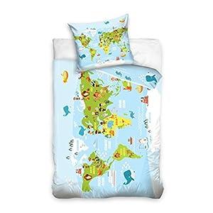 AmazingShop Juego de cama infantil (140 x 200 cm, algodón), diseño de mapamundi