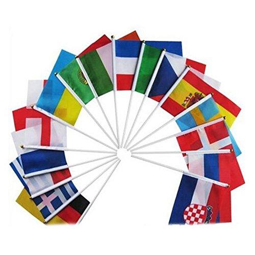 TOOGOO Banderas de Mano del Mundo campestre con Postes Bandera pequena de 32 Paises del Copa Mundial Bandera de Equipo para Futbol Fans del Futbol del Club