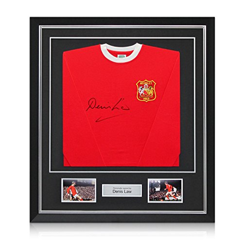 Deluxe Framed Denis Law Signed Manchester United 1963 FA Cup Winners Football Shirt With Silver Inlay