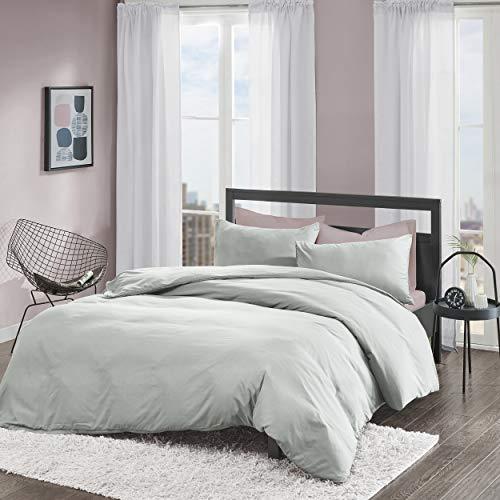 Bettwäsche 135x200cm Grau Einfarbig Mikrofaser 2-teilig Bettbezug & Kissenbezug 80x80cm Angenehm und Weich Solid Duvet Ideal für Winter