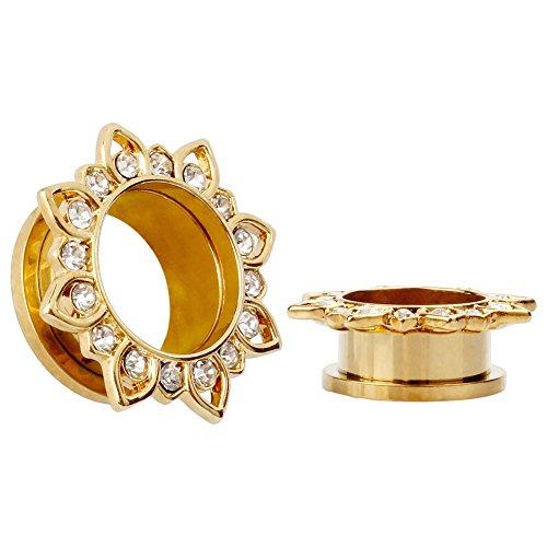 KUBOOZ Ohrenstöpsel Schmuck Gold plattiert Blume Edelstahl Kristall Edelsteine Schraube hinten Messgeräte paarweise - Paarweise
