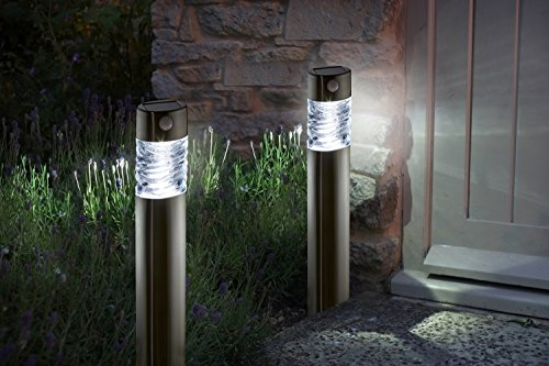 4er Set Edelstahl LED Solarleuchte mit Bewegungsmelder super hell | aus hochwertigem Edelstahl und echtem Glas hergestellt | exklusive Solar Lampe, perfekt für Garten Dekoration (4er Set)