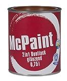 McPaint 2in1 Buntlack Grundierung und Lack in einem für Innen und Außen. PU verstärkt - speziell für Möbel und Kinderspielzeug glänzend Farbton: RAL 8011 Nussbraun 0,75 Liter - Bastellack- Andere Farben verfügbar