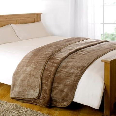 Dreamscene Luxury Faux Fur Fleece Throw Sofa Bed Soft Warm Blanket, Mink, King, 200 x 240 cm