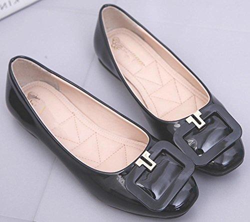 YMXJB Fin de boeuf européen et américain plat casual chaussures femme Black