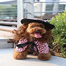 Haodasi Ropa para mascotas Cute Dog Cat Pet Puppy Clothes Dress Decoration Cloak Wig Hat Suit ( Style: PF30 pink; Size: L ?