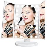 Espejo de Maquillaje Tríptico Plegable, Artifi Espejo Iluminación con 21 LEDs, Aumentos 1X, 2X y 3X y Pantalla Táctil, Regalo Perfecto (Blanco)
