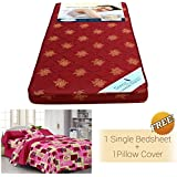 """Story@Home Single Size Foam 4 inch Mattresses Maroon (72"""" X 30"""" X 4"""") Free 100% Cotton Single Size Solid Bedsheet with 1 Pillow Cover, Maroon"""