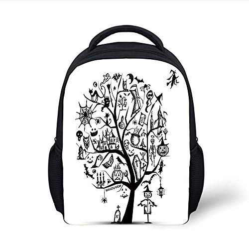Halloween Decorations,Sketchy Spooky Tree with Spooky Decor Objects and Wicked Witch Broom,Black White Plain Bookbag Travel Daypack ()