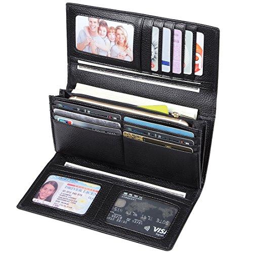 JEEBURYEE RFID Leder Geldbörse Damen Portemonnaie Clutch mit Knopf Lange Groß Damen Handtasche Geldbeutel für Frauen Schwarz (Leder Handtaschen Und Geldbörsen)