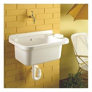 Ausgussbecken 510 x350 Kunststoff Weiss Waschtrog mit Seifenablage inkl. Ventil, Stopfen und Ablaufsiphon Made in EU