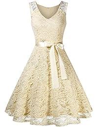 KOJOOIN Damen Kleid Brautjungfernkleid Knielang Spitzenkleid Ärmellos  Cocktailkleid(Verpackung ... 9fd907b66b