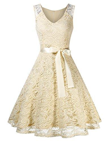 KOJOOIN Damen Vintage Kleid Brautjungfernkleid Knielang Spitzenkleid Cocktailkleid Gelb Milchweiß...