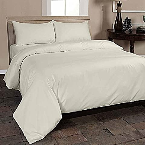 Homescapes Single Cream Organic Cotton Duvet Cover Set Plain Dyed Percale 400 Thread Count with 100% Cotton Pillowcase Included