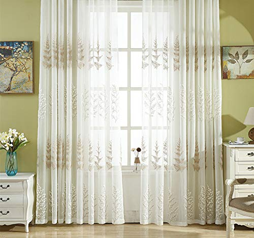 BW0057 Sheer Curtain Panel Embroidery Rod Pocket Top for Living Room Decorative (1 Panel W 50 x L 95,inch) -