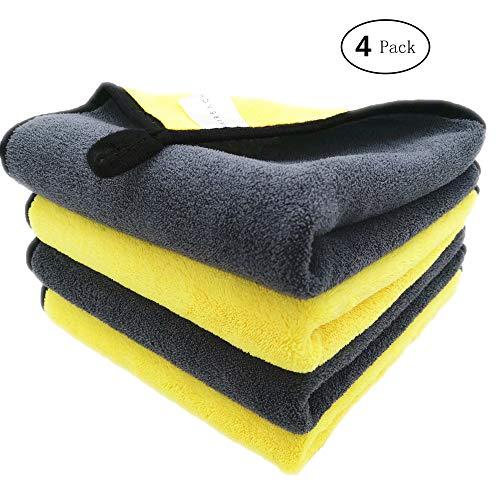 Faireach Microfasertuch Autopflege 4er Set, Mikrofasertücher Putztuch, Microfaser Tuch Auto für Polieren Waschen Trocken Staubwischen und Pflegen, 40 x 40 cm