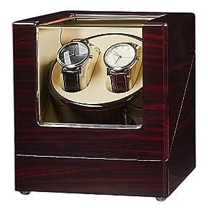 JQUEEN Doppel Uhrenbeweger, automatische Uhrenbeweger mit japanischen Mabuchi Motor Holz rotierenden Uhren Display Aufbewahrungskoffer Box