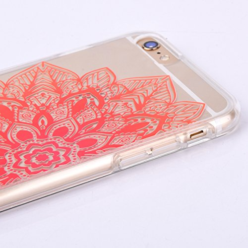 iPhone 6 Plus Custodia, iPhone 6S Plus Cover TPU Trasparente, JAWSEU Apple iPhone 6/6S Plus 5.5 Case Caso Coperture Bella Creativo Brillante Cristallo Trasparente Custodia Cover per iPhone 6S Plus Ult Floreale Arancia