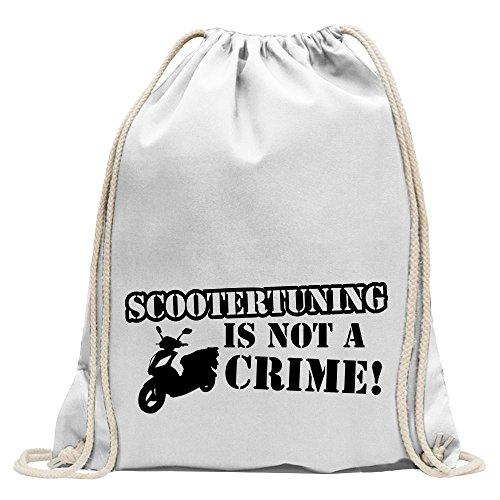 KIWISTAR - Scootertuning is not a Crime! Design 2 Turnbeutel Fun Rucksack Sport Beutel Gymsack Baumwolle mit Ziehgurt