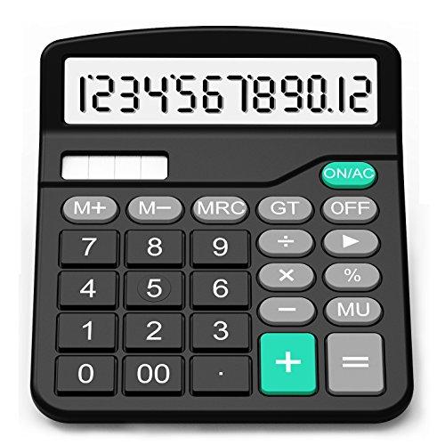 Taschenrechner, Splaks 12-stellig Standard Function Tischrechner Bürorechner Rechenmaschine Solar- und AA Batterie betrieb Calculator mit großem Display Schwarz