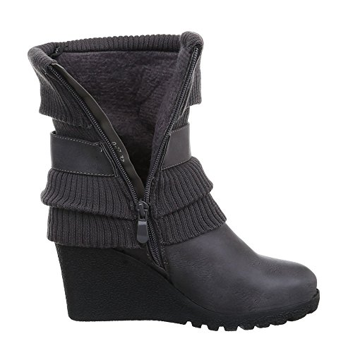 Ital-Design Keilstiefeletten Damen Schuhe Plateau Keilabsatz/ Wedge Keilabsatz Stiefeletten Grau