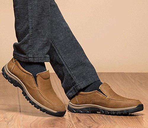 Autunno E Inverno Cuoio Scarpe Casual Scarpe Da Uomo Comode Set Di Piedi Scarpe Pigri Resistenti All'usura Scarpe Da Corsa Scarpe Brown