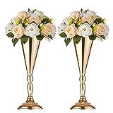 Support De Fleur En Métal En 2 Pièces, Vase À Fleurs Faux Pour Le Mur De Maison / Meuble De Télévision, Arrangement De Fleurs À La Table Pour Mariage / Fête, Or