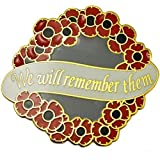 NEW Large Red Poppy Flower Wreath We Will Remember Them Lapel Pin Badge UK SELLER