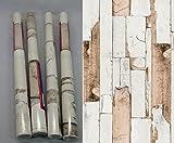 i.stHOME Klebefolie 4er Set - Möbelfolie Altes Holz - Door Grau Beige Braun - Dekorfolie Holzoptik je Rolle 45 x 200 cm - Selbstklebende Folie Holzdekor Vintage
