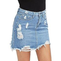 Falda Rotos para Mujeres Color Sólido A-lìnea Skirt de Mezclilla Moda Cintura Alta Casual Verano Mini Falda con Bolsillos