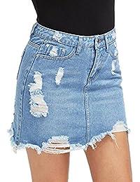 Damen Denim Röcke - Mode Hoch Taillierte A-Linie Zerrissen Minirock Sommer  Casual Bleistiftröcke Streetwear ccb862cf45