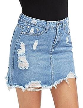 Falda Rotos para Mujeres Color Sólido A-lìnea Skirt de Mezclilla Moda Cintura Alta Casual Verano Mini Falda con...