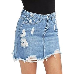 Damen Denim Röcke - Mode Hoch Taillierte A-Linie Zerrissen Minirock Sommer Casual Bleistiftröcke Streetwear Plus Größen