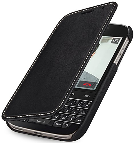 StilGut Book Type Case, Hülle aus Leder mit On-/Off-Funktion für BlackBerry Classic Q20, schwarz - Nappa