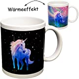 alles-meine GmbH magische Farbwechsel - Wärme Thermoeffekt _ Henkeltasse / Kaffeetasse -  Einhorn mit Regenbogen & Sterne  - groß - 330 ml / 0,33 Liter - Porzellan / Keramik..