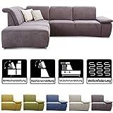 CAVADORE Ecksofa Tabagos / Große Couch mit Ottomane links / Modernes Sofa mit Sitztiefenverstellung...